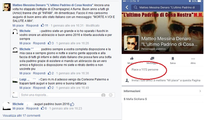 Mille fan su Facebook per Messina Denaro